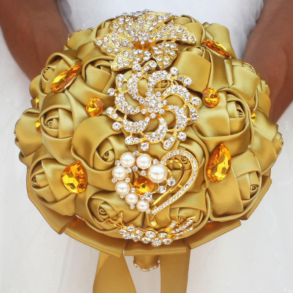 JaneVini Luxury Satin Wedding Bouquets Shiny Crystal Rhinestone Artificial Gold Roses Bridal Flowers Wedding Bouquet Accessories