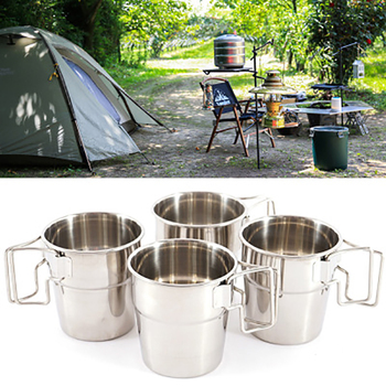 4 Piece Set Stainless Steel cup Portable Water Mug coffee Mountaineer Cup Foldable Handle Outdoor Camping Picnic Tableware ultra light titanium cup mug flower pot outdoor tableware camping cup picnic cup mug coffee tea with lid folding handle 350ml