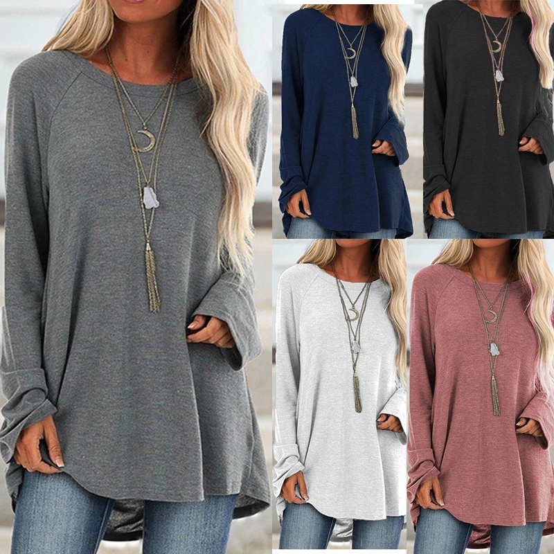 Women Plus Size 5XL T-Shirt Casual Loose Long Sleeve Womens Tee Streetwear Comfort Irregular Solid Tunic Female Pullover Tops