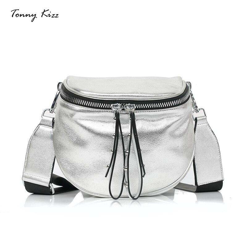 Tonny Kizz Women Shoulder Bag Small Crossbody Bags For Ladies Wide Shoulder Strap Messenger Bag Silver Soft Handbag Fashion 2019
