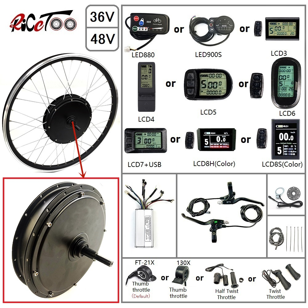 RICETOO Electric Bicycle Kits 48V 1500W Rear Rotate Wheel Spoke Motor With Optional 20