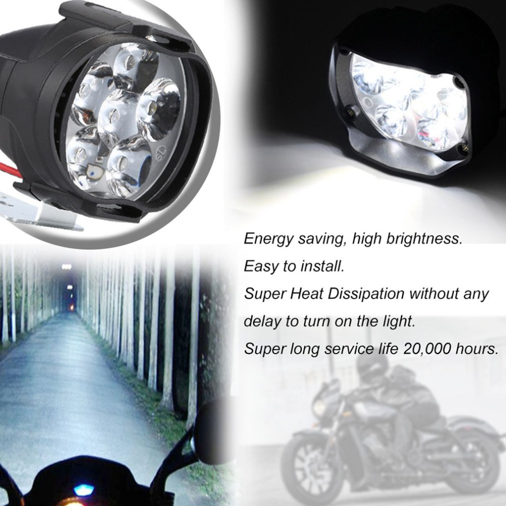 Motorcycle Headlight Fog Scooter LED Spotlights Moto ATV 12V 6500 K Working Motor Spot Light Head Lamp DRL White Car Headlight