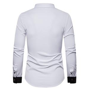 Image 2 - 男性のローズフラワー刺繍西部シャツメキシコ男白シャツスリムフィットロングスリーブパーティー祭カウボーイ衣装 camisas