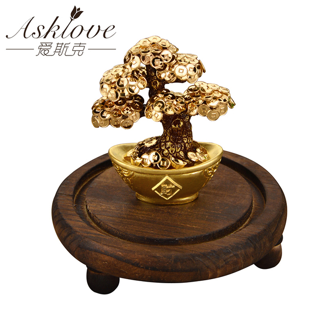 Feng Shui Fortune tree Gold Foil Money Tree Bonsai Office Tabletop Lucky Wealth Ornaments Gifts Home Decoration with Gifts box 2