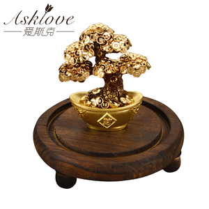 Image 2 - Feng Shui Fortune tree Gold Foil Money Tree Bonsai Office Tabletop Lucky Wealth Ornaments Gifts Home Decoration with Gifts box