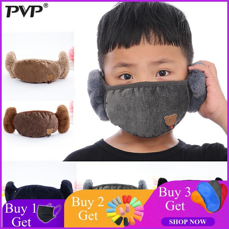 2019PVP Fashion Winter Warm 2 In 1 Mouth Mask Earmuffs Cartoon Dust And Wind Proof Cover Masks For Children