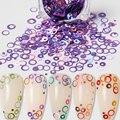 1 баночка смешанные Размеры высокое качество красочные блеск для ногтей голографические хлопья виде незаполненного круга Блестки для нейл ...