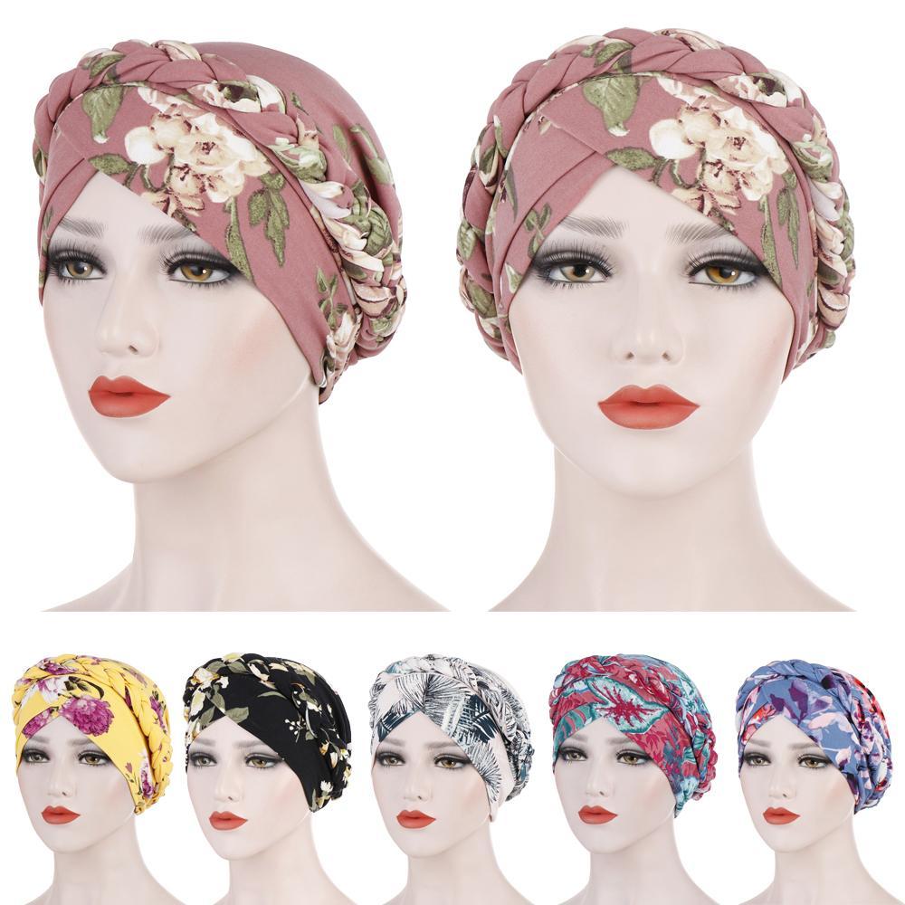 Women Braid Flower Printed Cancer Muslim Head Scarf Turban Hat Headwrap Cover Chemo Cap Hair Loss Ethnic Beanie Skullies