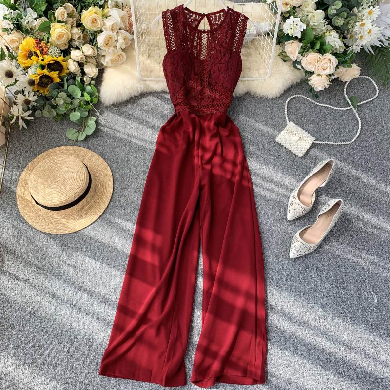 Elegant High Waist Hip Wide Leg Patchwork Lace Hollow Out Sleeveless Jumpsuit 8