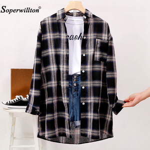 T-Shirt women Casual Matching Color Long Sleeve Button Loose Plaid Shirt Tops harajuku Clothes women tshirt Black/Yellow/Pink