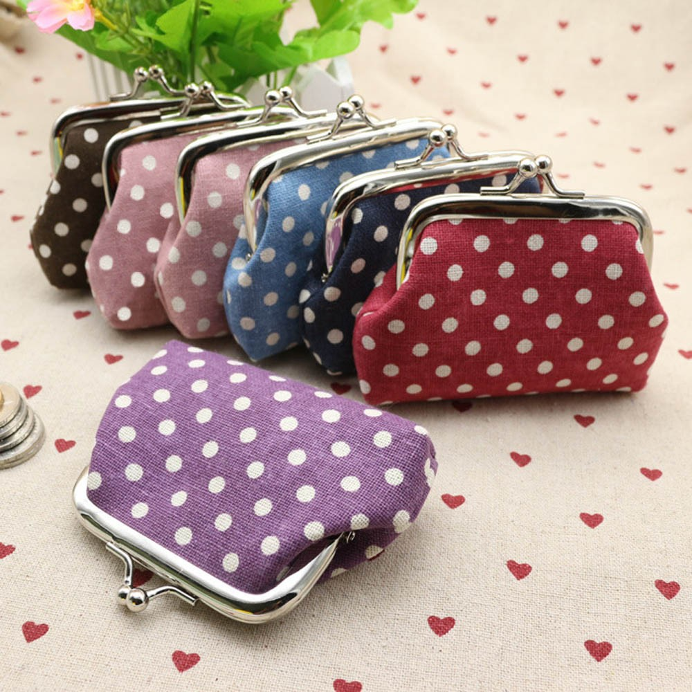 Small Wallet Handbag Bag-Change-Pouch Card-Holder Clutch Linen Purse Cute Women Coin