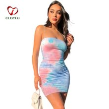 Women cute;s Sling Dress, Wrapped Midi, Square Neck No-Sleeve Tight Summer Casual Dye Printed Girl Clothes