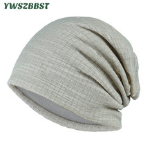 New Autumn Stripe Beanies for Women Turban Cap Men Winter Cotton Warm Hat Breathable Head Months