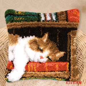 Image 2 - Smyrna Latch Hook Pillow Cute Cat Carpet Embroidery Do It Yourself Carpet Cushion Button Package Latch Hook Rug Kits knoopkussen