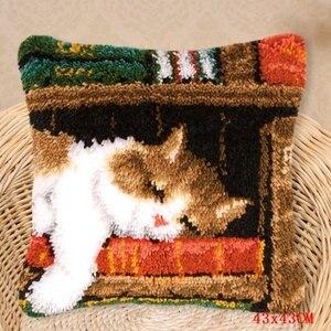 Image 2 - Smyrna almohada con gancho de cierre para alfombras, kit de costura con aguja de lengüeta para alfombra knoopkussen