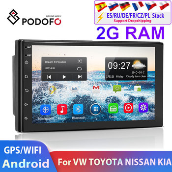 Podofo 2 din Android Car Multimedia Player 2din autoradio Navigation For Volkswagen Nissan Hyundai Kia Toyota Skoda Universal image