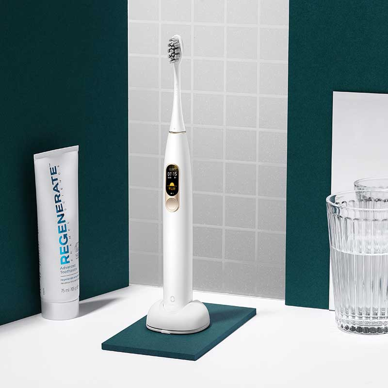 Global Version Oclean X Sonic Electric Toothbrush Color LCD Touch Screen IPX7 4 Brush Modes Fast Charge 30 days Tooth Brush