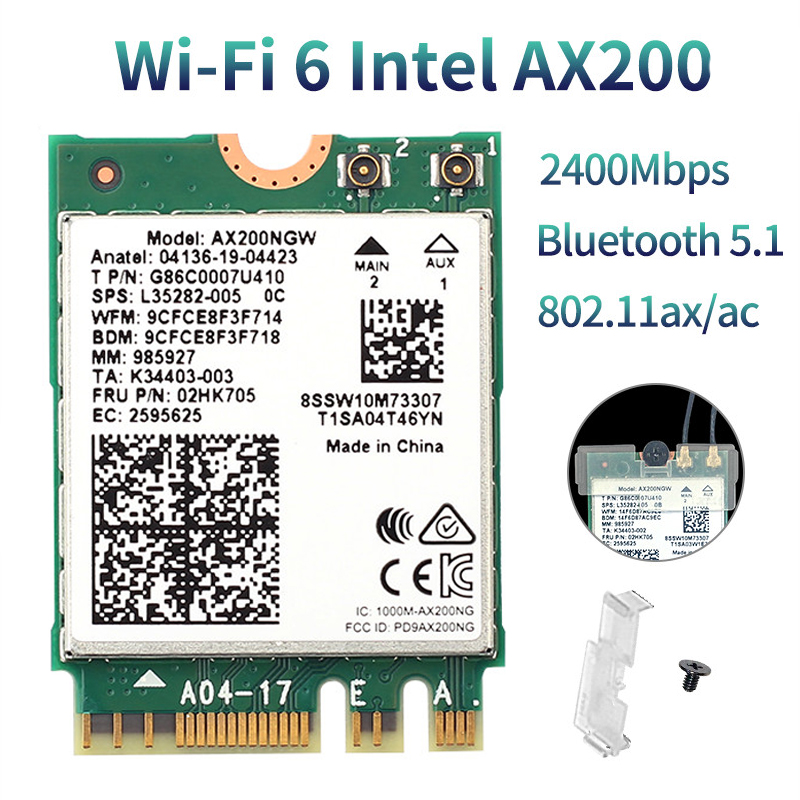 WiFi 6 Dual Band For Intel <font><b>AX200</b></font> 2400Mbps Wireless AX200NGW NGFF M.2 Bluetooth 5.1 Wifi Network Card 2.4G 5G 802.11ac/ax Adapter image
