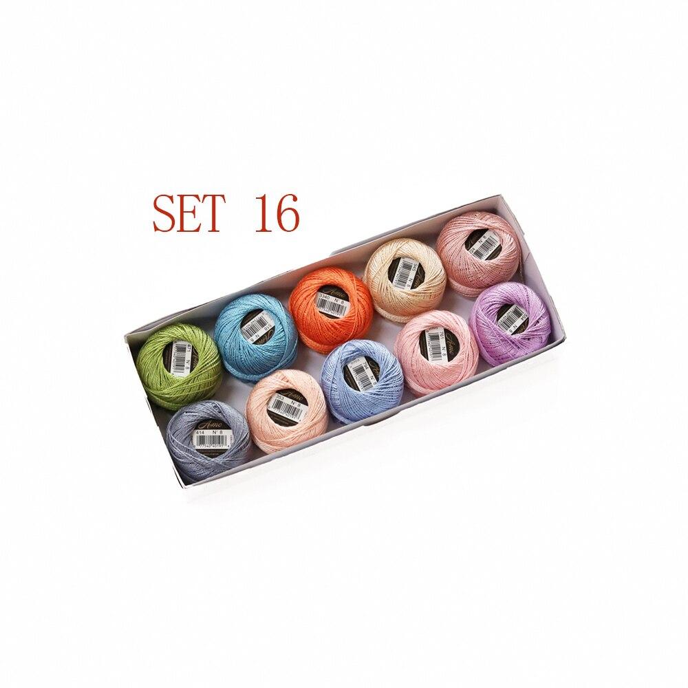 5 граммов размер, 8 жемчужных хлопковых нитей для вышивки крестиком, 43 ярдов на шарик, Двойной Мерсеризованный длинный штапельный хлопок, 10 шт./col - Цвет: SET 16