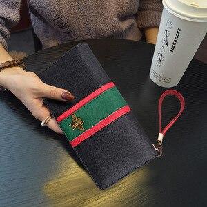 Skórzany damski zamek błyskawiczny długi portfel Bifold o dużej pojemności długie etui na karty Organizer torebka damska z pierścieniem ręcznym