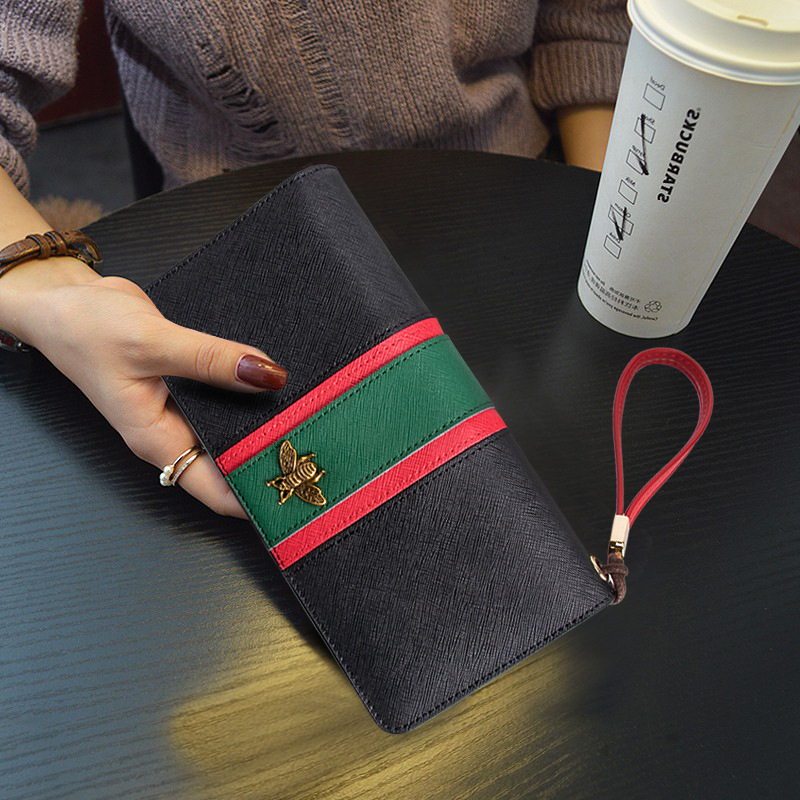 Women's Leather Fashion Zipper Long Clutch Wallet Bifold Large Capacity Long Card Holder Organizer Ladies Purse With Hand Ring