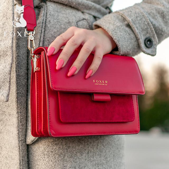 FOXER Women Crossbody Bag Shoulder Bags Shoulder Bag Purse Lady Flap Female Messenger Bag Valentine's Day Present Gift