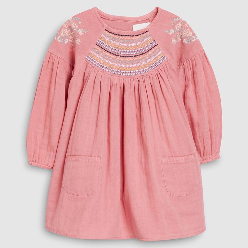 Little maven 2-7Years 2021 Autumn Bay Girls Child Toddler Flower Embroidery Pocket Dress Children Kids Tops Tees Fall clothing 1