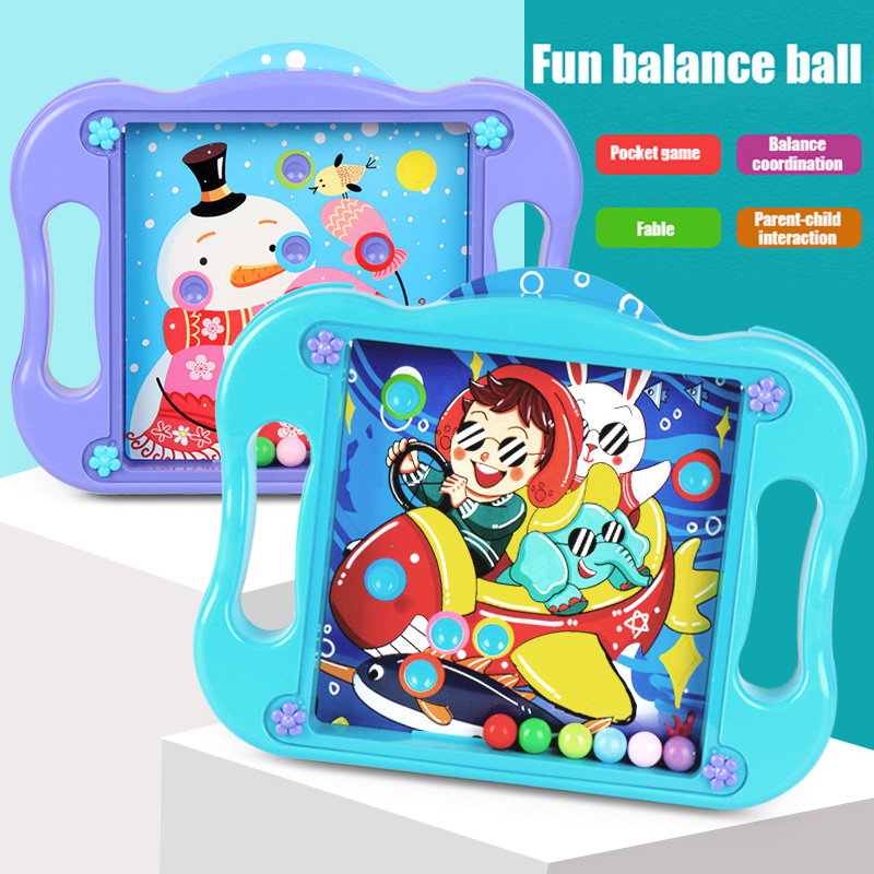 Ball Balance Puzzle Game Labyrinth Board Toys Puzzle Ball Brain Teasers with 10 Game Scenes Cards S7JN