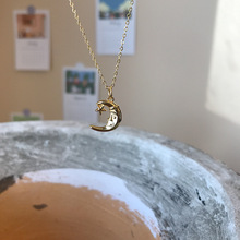 Silvology 925 Sterling Silver Cute Star Moon Face Necklace for Women Elegant Chi