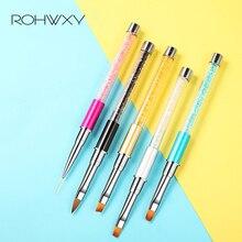 ROHWXY pincel de uñas con diamantes de imitación, lápiz de Gel UV, pincel para manicura, arte de uñas, pintura en gradiente, bolígrafo acrílico, GEL, extensión de pluma