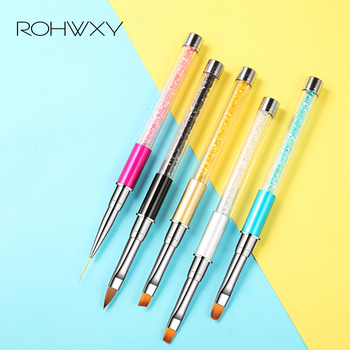 ROHWXY Nail Brush Rhinestone Handle Drawing UV Gel Pen Manicure Nail Art Brush Gradient Painting Pen Acrylic GEL Extension Pen