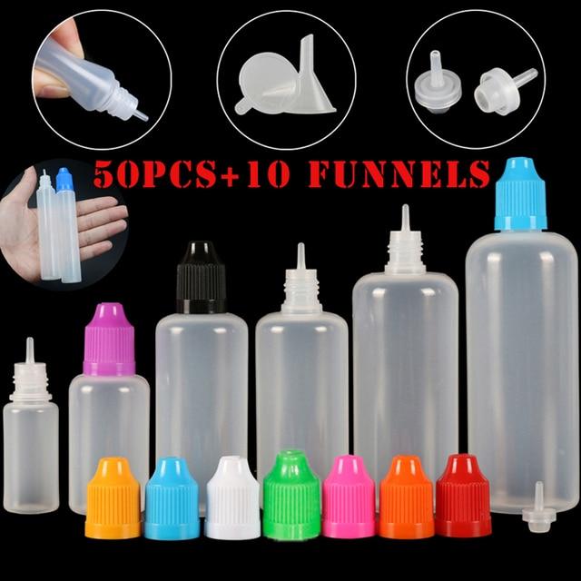 50pcs 3/5/10/15/20/30/50/100/120 ml Empty LDPE Plastic Squeezable E Liquid Juice Dropper Eye Bottles Long Tip Cap Vape Container
