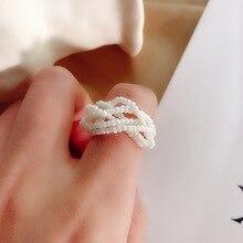 knitting multi-layer pearl ring small bead multi circle elastic finger ring For Women Wholesale New bohemian leaves circle finger ring