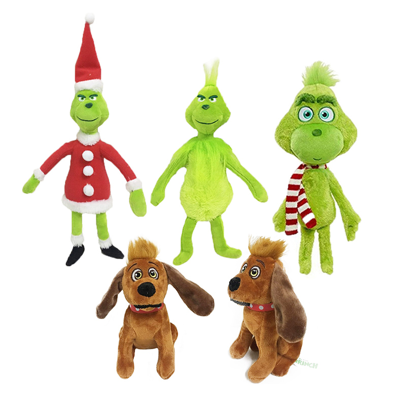 18-40CM Grinch Plush Toys How The Grinch Stole Christmas Grinch Max Dog Plush Doll Toy Soft Stuffed Toys For Children Kids Gift
