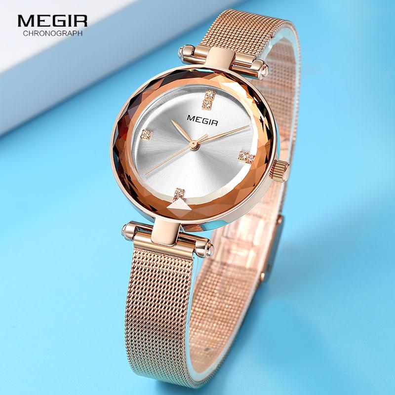 MEGIR Mesh Milanese Bracelet Watch Lady Luxury Top Brand Quartz Wristwatches Women Waterproof Simple Relogio Feminino Clock 4211