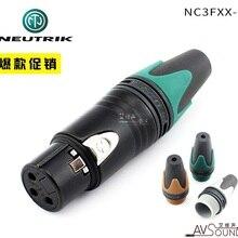 NEUTRIK три ядра XLR баланс cannon гнездовой разъем NC3FXX-B Черный позолоченный с цветным хвостовым рукавом