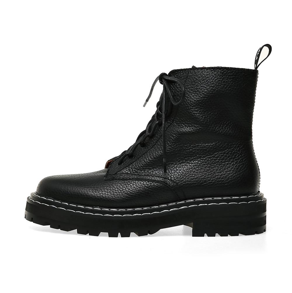 De talla grande 34 43 nuevos zapatos Martin de cuero genuino para mujer con cremalleras botas casuales botas de invierno abrigadas con cordones botas de moda para damas - 6