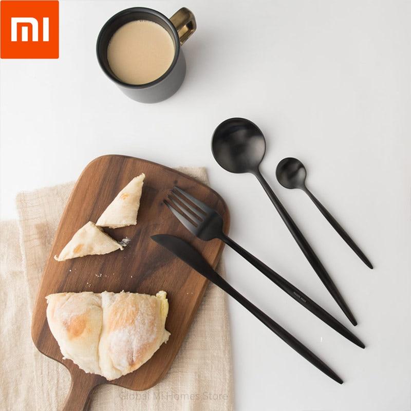 Xiaomi Youpin Maison Maxx vaisselle poli couverts en acier inoxydable à manger nourriture couverts Kit vaisselle fête cadeau noir 56