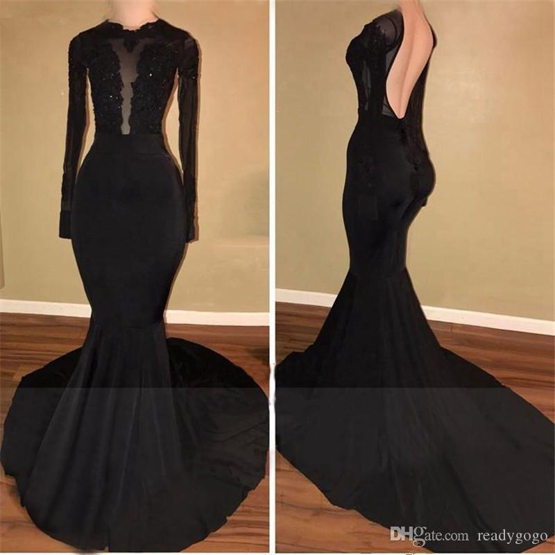 Купить с кэшбэком Black Mermaid Prom Dresses 2019 Long Sleeves Open Back Appliques Evening dress Court Train Arabic Women Formal robe de soiree