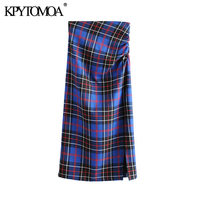 Vintage Elegant Office Wear Plaid Midi Skirt Women 2019 Fashion High Waist Back Zipper Split Female Skirts Casual Faldas Mujer