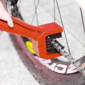 Myjnia samochodowa uniwersalny motocykl rowerowy łańcuch zębaty konserwacja czysty brud szczotka urządzenia do oczyszczania tanie i dobre opinie 25 5cm Chain brush Nylon and ABS Zestawy łańcuchowe 0inch Motorcycle Chain Brush 3 2cm Bicycle Chain Cleaning Brush
