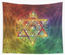 Metatron s Cube with Merkabah and Flower of Life Tapestry Psychedelic Colorful Wall Hanging Tapestries Dorm