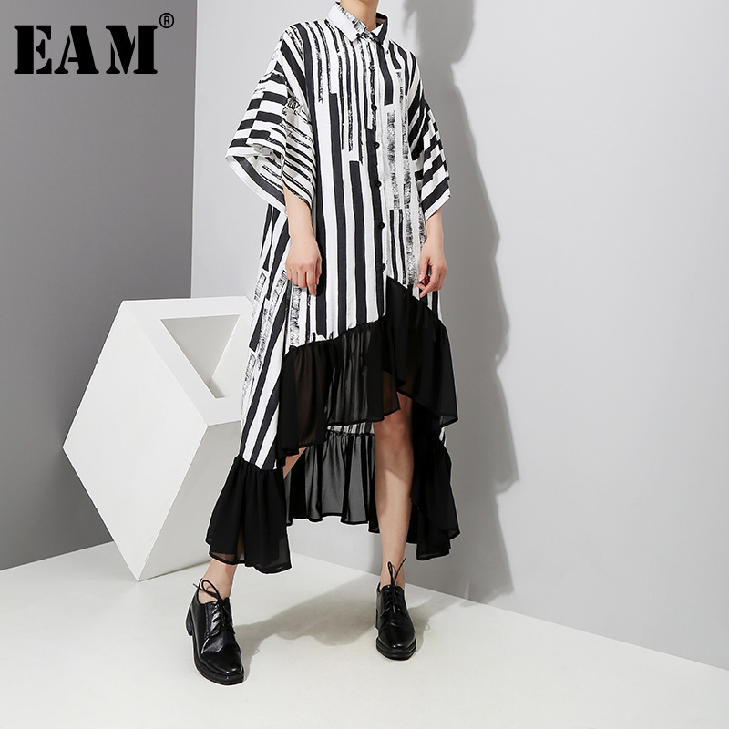 [EAM] Women Striped Back Long Big Size Dress New Lapel Three-quarter Sleeve Loose Fit Fashion Tide Spring Autumn 2020 1D759