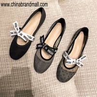 Top Leather Women's Flats Shoes Bowknot Letter Print Ballet Flats Patent Leather Shoes Round Toe Mesh Lace Flats 34 42