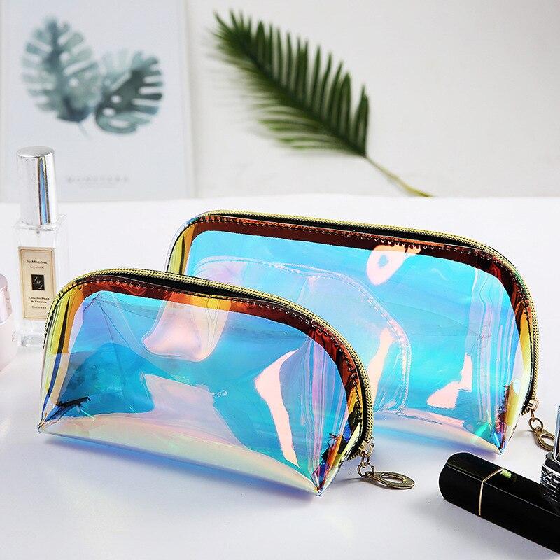 Полукруглая косметичка для женщин, цветные лазерные макияжные пакеты на молнии, органайзер для путешествий, косметичка Косметички      АлиЭкспресс