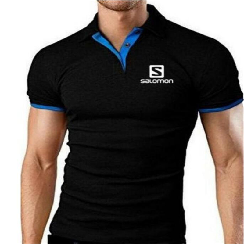 Mens Salomon Polo Shirt 2019 New Summer Short Sleeve Turn-over Collar Slim Tops Casual Breathable Solid  Business Shirt
