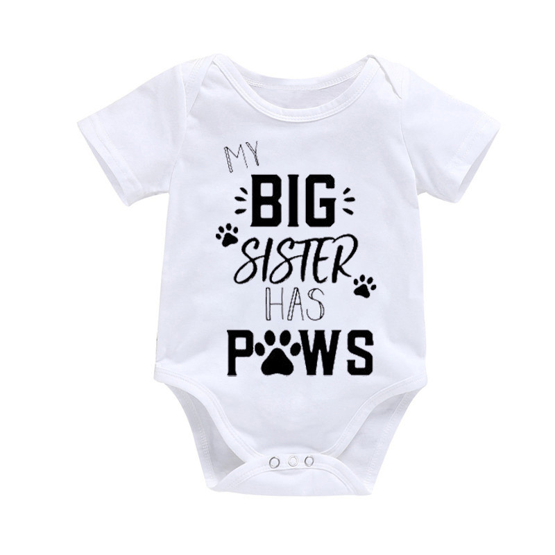 0-24M Kids Romper My Big Sister Has Paws Newborn Baby Clothes Playsuit Sunsuit Outfits Infant Boys Girls Summer Rompers Costume