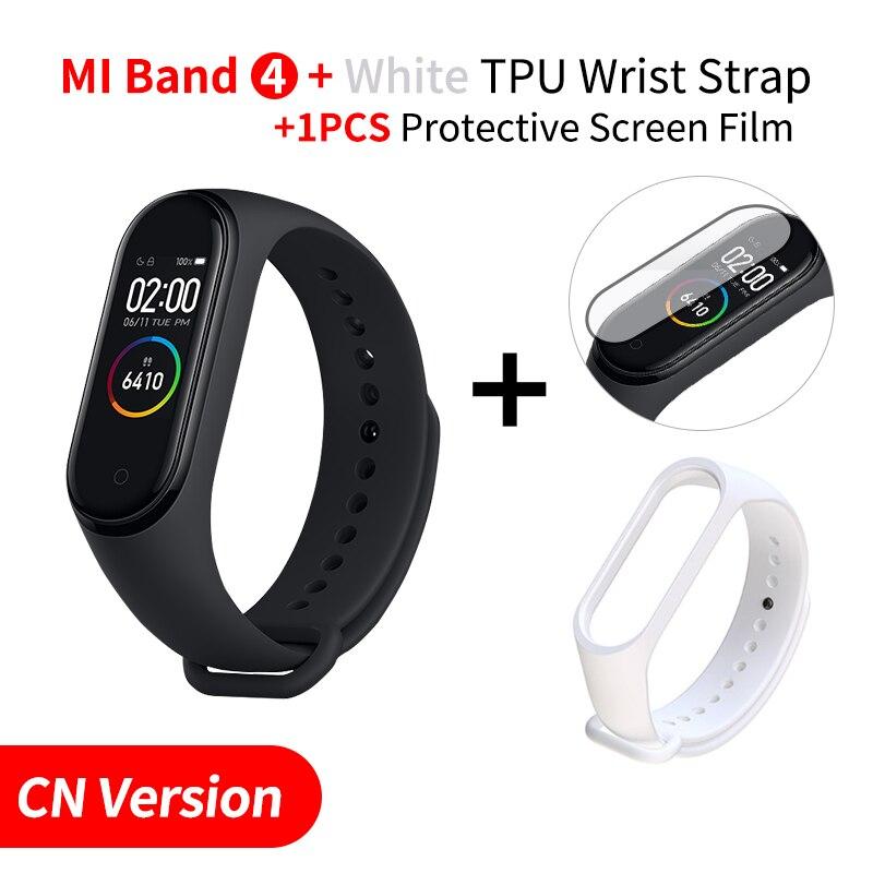 Xiaomi mi Band 4 Smart mi band 3 Цвета экран Браслет фитнес-трекер для измерения сердечного ритма Bluetooth 5,0 водонепроницаемый банда4 - Цвет: Add White Strap