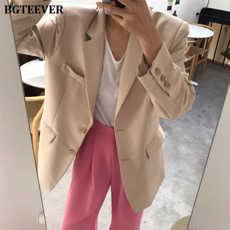 Elegant Single-breasted Women Blazer Coat Notched Collar Female Suit Jacket Work Style Loose Blazer Outerwear 2019 Autumn