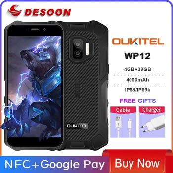 Oukitel WP12 Rugged IP68/69K SmartPhone 4GB+32GB 4000mAh Quad Core Android11 Mobile Phone 5.5'' HD+500W/1300W 13MP Camera Phone 1